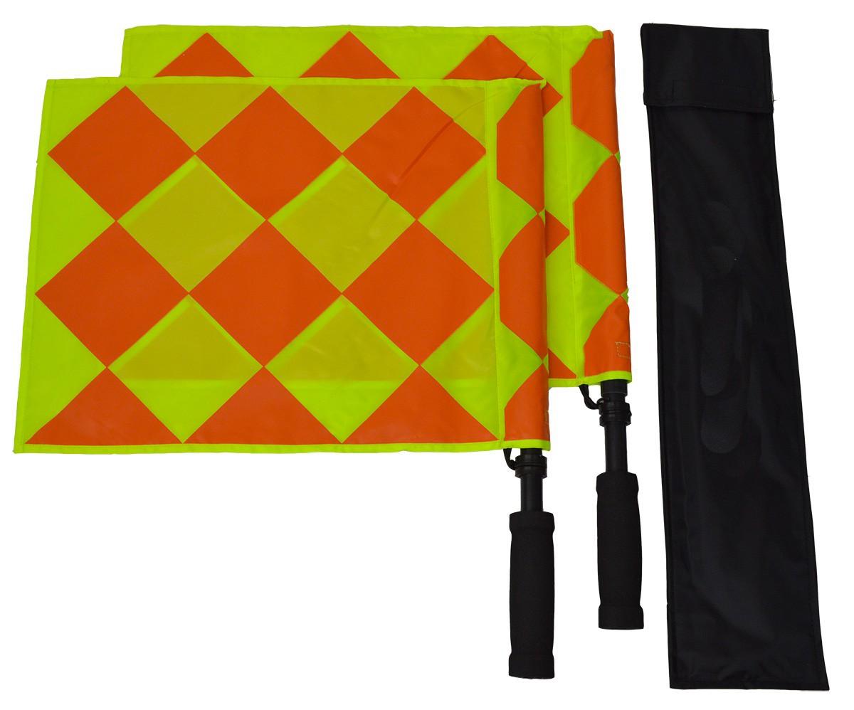 Fannty 1 paire drapeaux darbitre de football professionnel fair play drapeaux Linesman de football avec sac de rangement /équipement de jeu darbitre