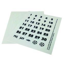 Feuilles numérotées autocollante - 30 mm