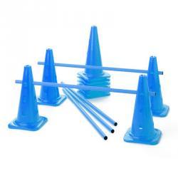Lot de 10 cônes 12 trous + 5 jalons - Bleu
