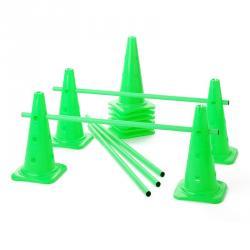 Lot de 10 cônes 12 trous + 5 jalons - Vert